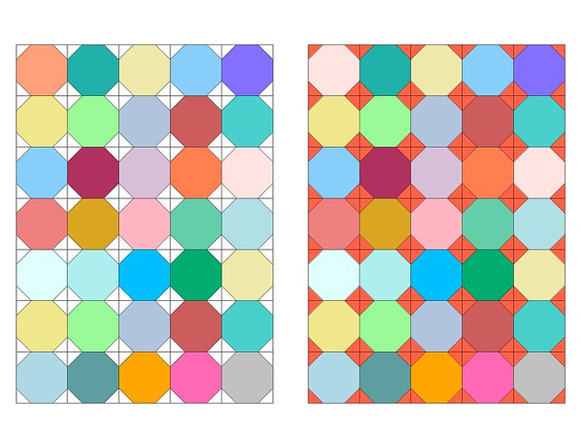 Snowball quilt multi-colored palette