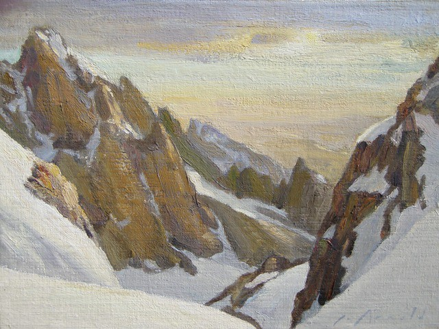 This view from the Middle Teton shows the South Ridge of the Grand where most of the climbing is done. I have done several studies and one 54 x 72 oil. This is the 'Yellow Version' of the view, 9 x 12 in, done somewhat with Joseph Turner in mind.