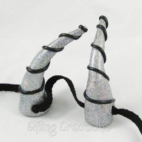 Silver Spiral Dragon Horns