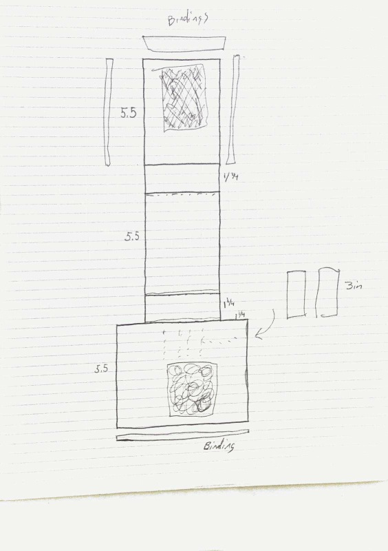 Design for a hip pouch to fit on a utility belt. Scanned sketch 2.