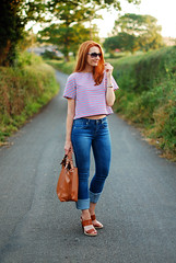 Stripey crop top and rolled hem jeans