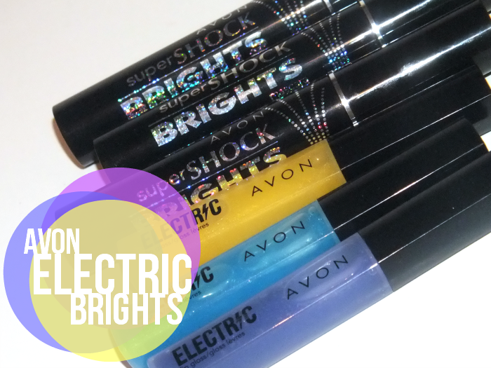 avon electric lip gloss and super shock brights mascara