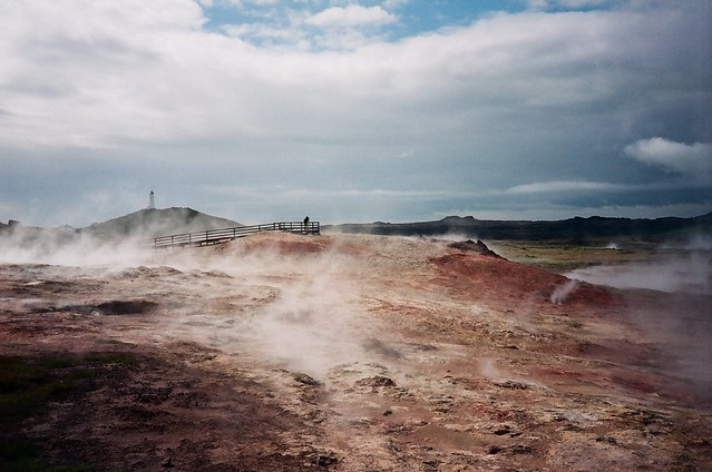 Reykjanes Lighthouse from the Gunnuhver Geothermal Area
