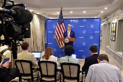 U.S. Secretary of State John Kerry addresses his traveling press corps as he announces a United Nations-backed 72-hour ceasefire in fighting between Israel and Hamas in the Gaza Strip during an early morning news conference in New Delhi, India, on August 1, 2014. [State Department photo/ Public Domain]