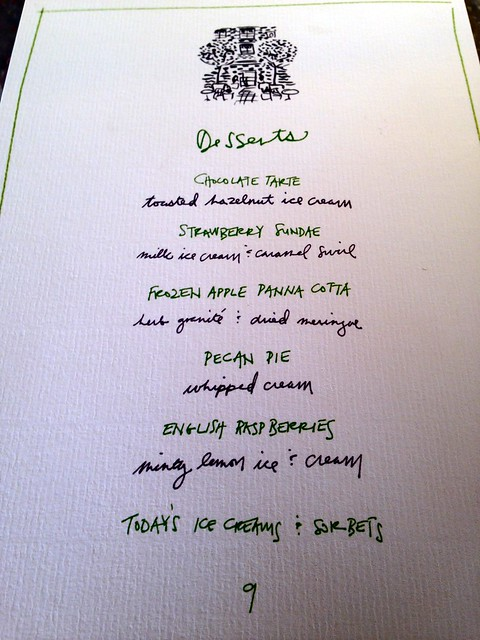 Chiltern Firehouse: dessert menu