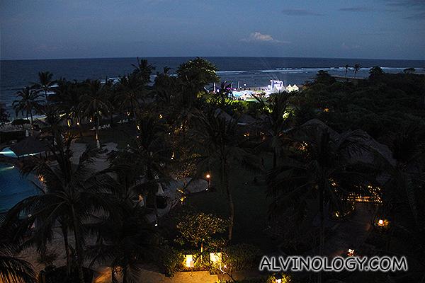 View of the venue for the ZTE launch party by the beach, from my room