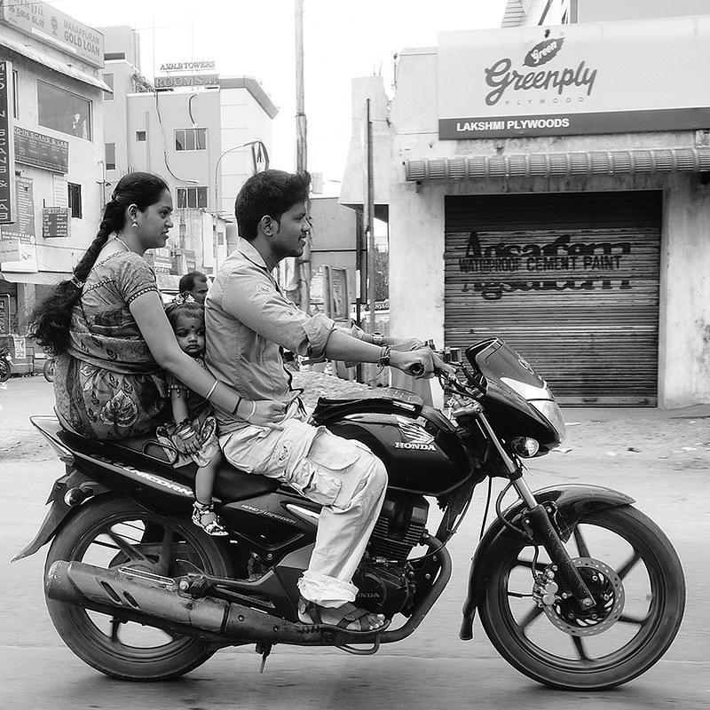 India. Family on motorbike...