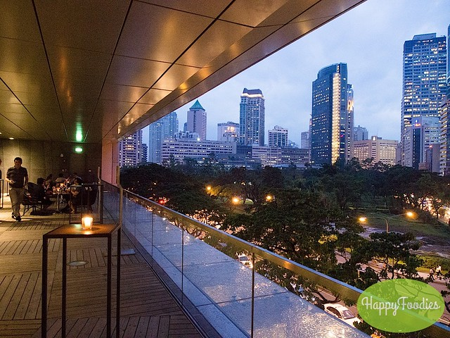 Open air dining with a view of the Makati skyline