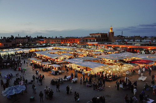 exploreexplored marrakech marrakesch morocco marokko maroc travel city urban view djemaaelfna nikon d90 dusk bluehour square africa african afrika maghreb mosque nightfall