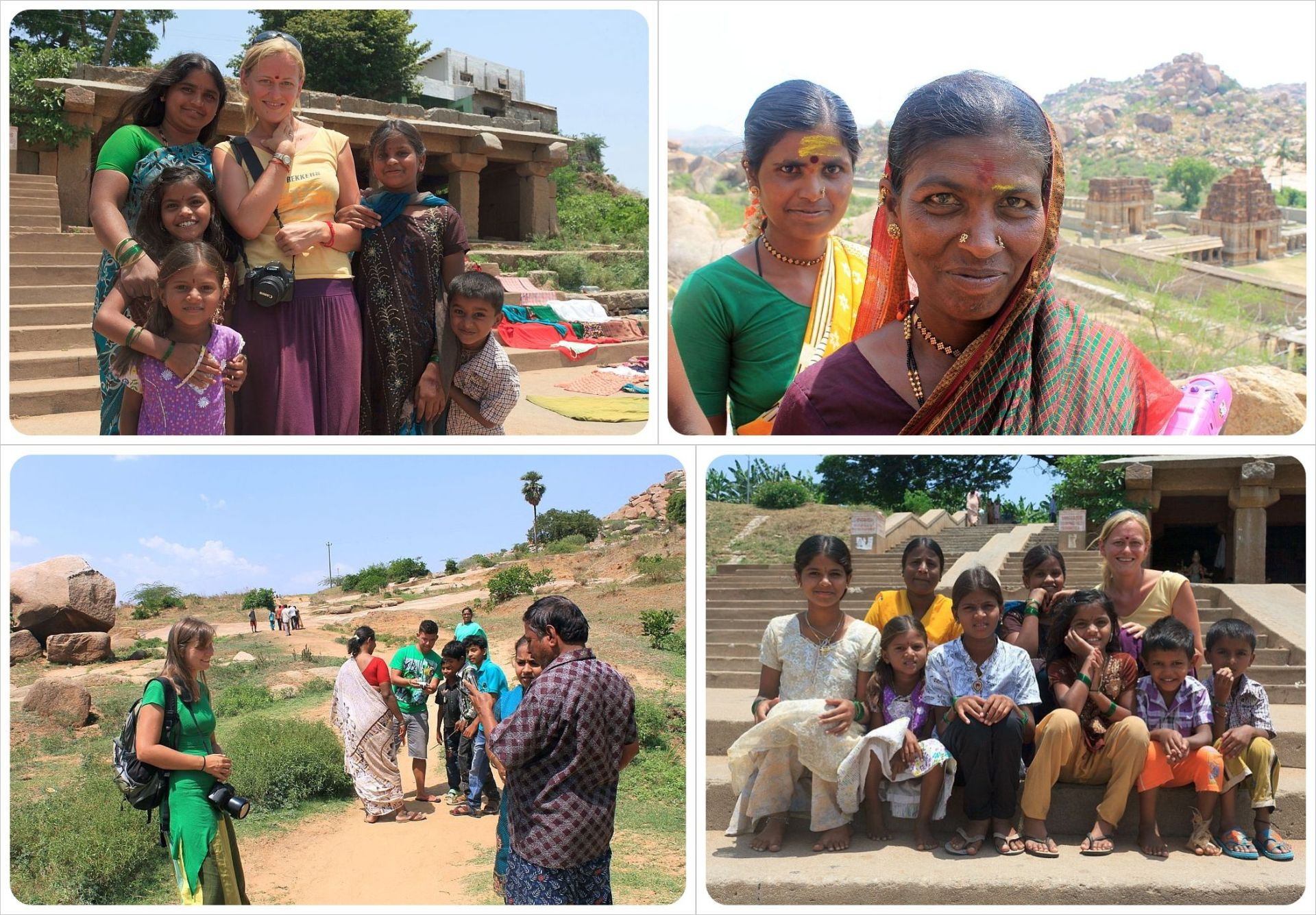 Meeting Indian families in Hampi