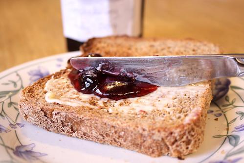Homemade jostaberry jam on toast