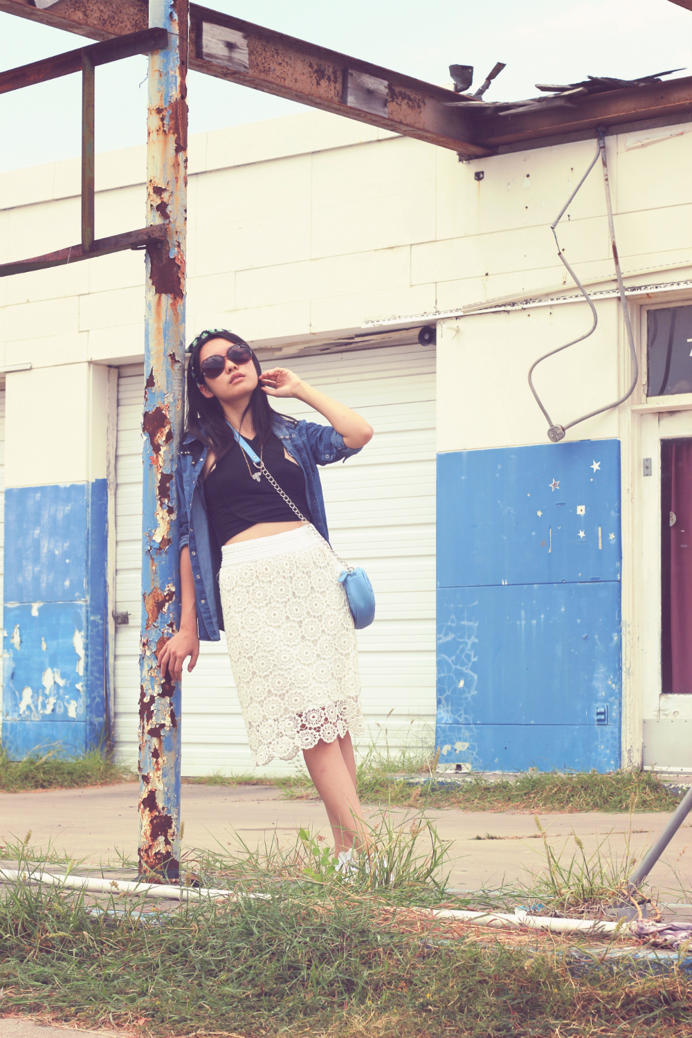 Vintage Gas Station: Chambray top over black cross over crop top and midi lace skirt