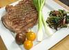 Flash Grilled Sirloin Steak, Heritage Tomato, Jumbo Spring Onion, Asparagus Salad