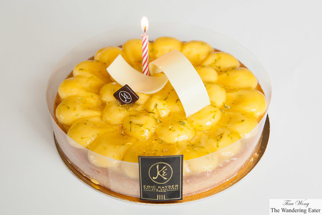 My brother's yuzu lemon birthday tart from Maison Kayser