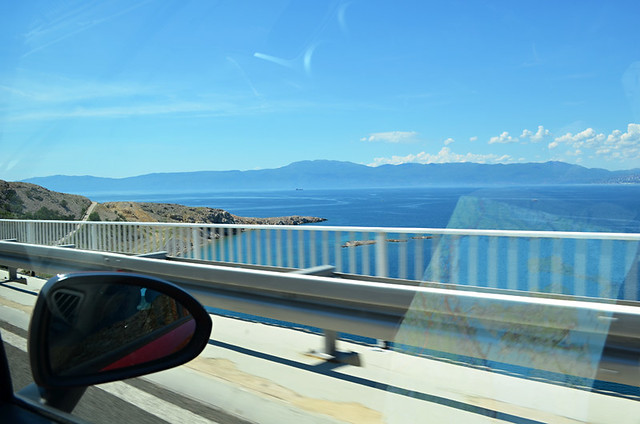 Driving onto Krk, Croatia