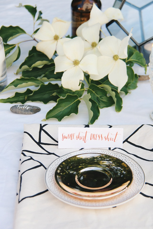 summer wedding place setting, geometric terrarium centerpiece, gold Starbucks plate, Seattle calligraphy, coral gouache calligraphy ink, little korboose Denver tea towel