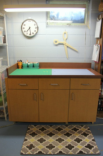 cutting table + fabric storage underneath