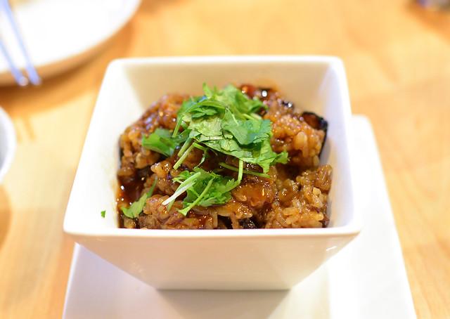 Taiwanese Sticky Rice sausage, calamari, shiitake, sweet tomato soy