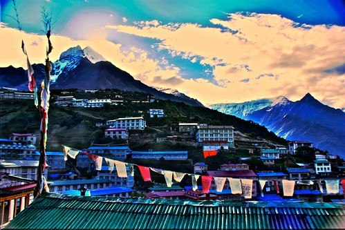Namche Baazar in the morning - view from our guesthouse window