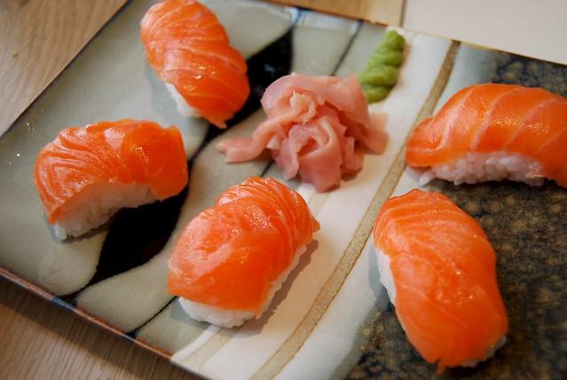 Tamago Nigiri Sushi Salmon Nigiri Sushi at Tamago
