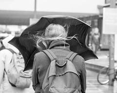 Woman, Rain, Wind