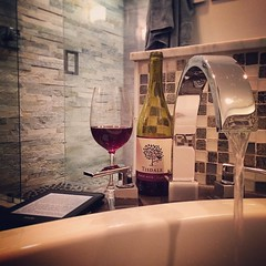 Recovering from tonight's tough track workout with the three B's (book, beverage & bubble bath). Critical elements of any training program. :-)