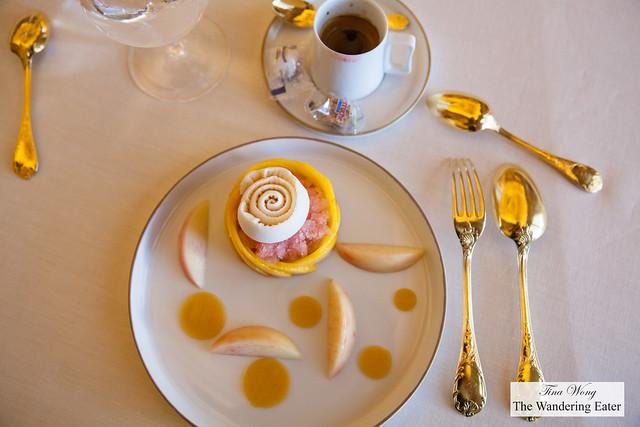 Opaline peach, Champagne ice cream and Champagne granita and my doppio espresso
