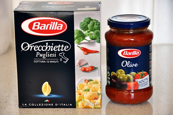 Orecchiette with olive, capers & chili, featuring Barilla Pasta & Sauce | www.fussfreecooking.com