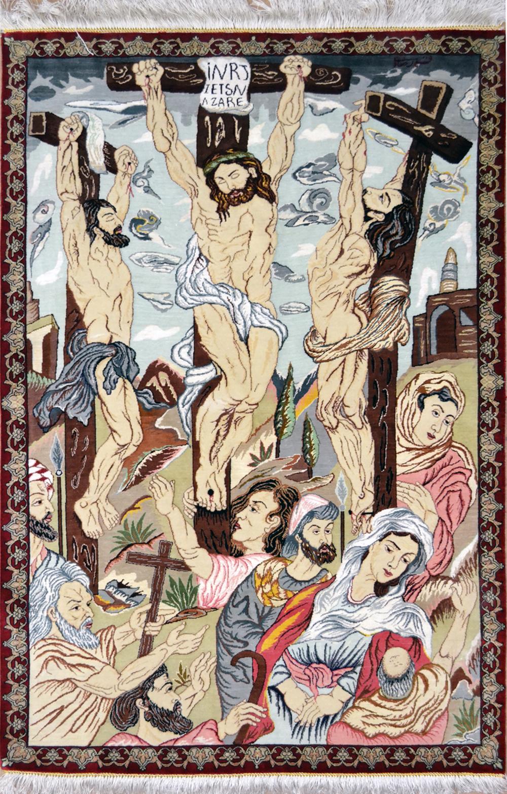 Jesus Crucifix Qom Silk Rug