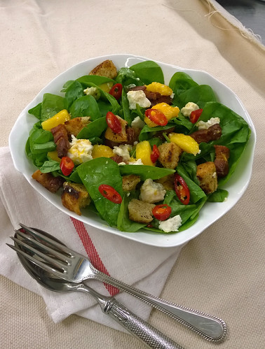 Spinach and Bacon Salad with Red Chilli and Mango