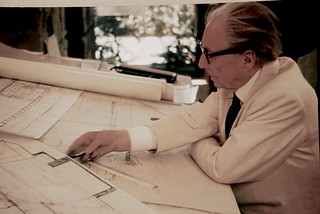 Frank Lloyd Wright, Architect,                 Drafting the Marin County Civic Center, 1958 or 1959 ... | by sswj