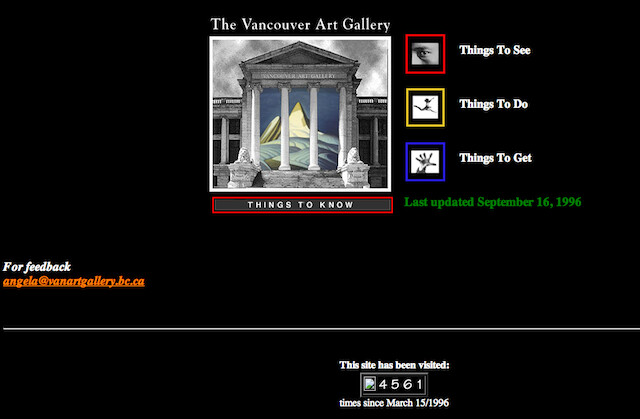 Wayback Machine Vancouver Websites
