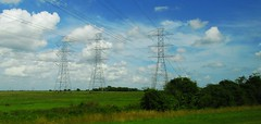 prairie, cumulus, cloud, electrical supply, field, plain, overhead power line, wind, transmission tower, electricity, grassland,
