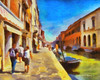 Digital Oil Painting of a Murano Canal by Charles W. Bailey, Jr.
