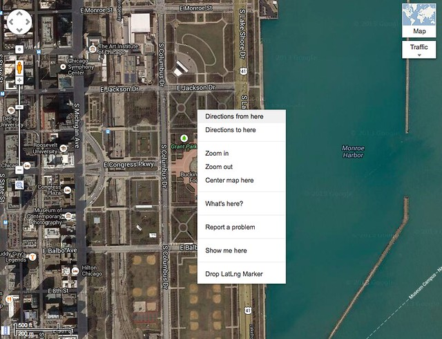 Google Maps context menu
