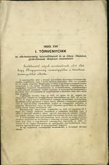 028. Az 1920. évi I. számú törvény a királyi hatalom gyakorlásának megszűnéséről