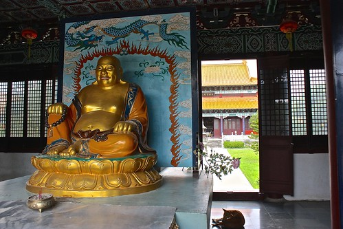 A different type of Buddha in the Chinese Buddhist temple at Lumbini