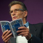 William McIlvanney reading on stage a the Edinburgh International Book Festival |