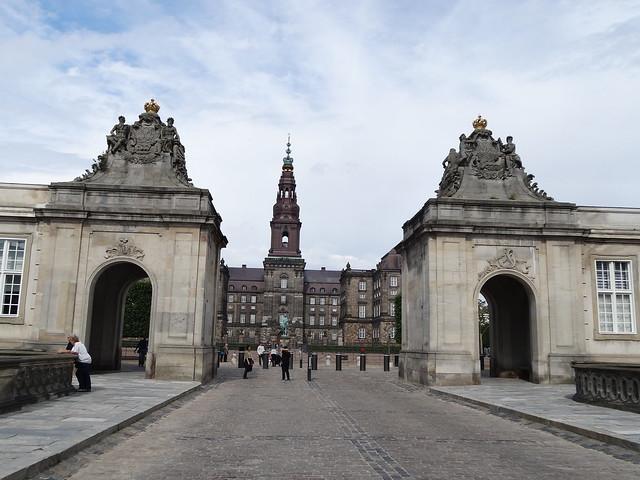 Gates to Christiansborg palace Copenhagen.