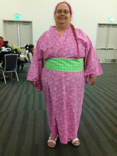 A pink and green plus size yukata