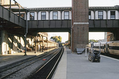 Amtrak & Metro-North Railroad passenger station platform view to the south at Poughkeepsie, New York, Fall 2002
