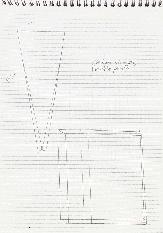 Invention to protect paperback books in transit, as in a back-pack. Scanned sketch.