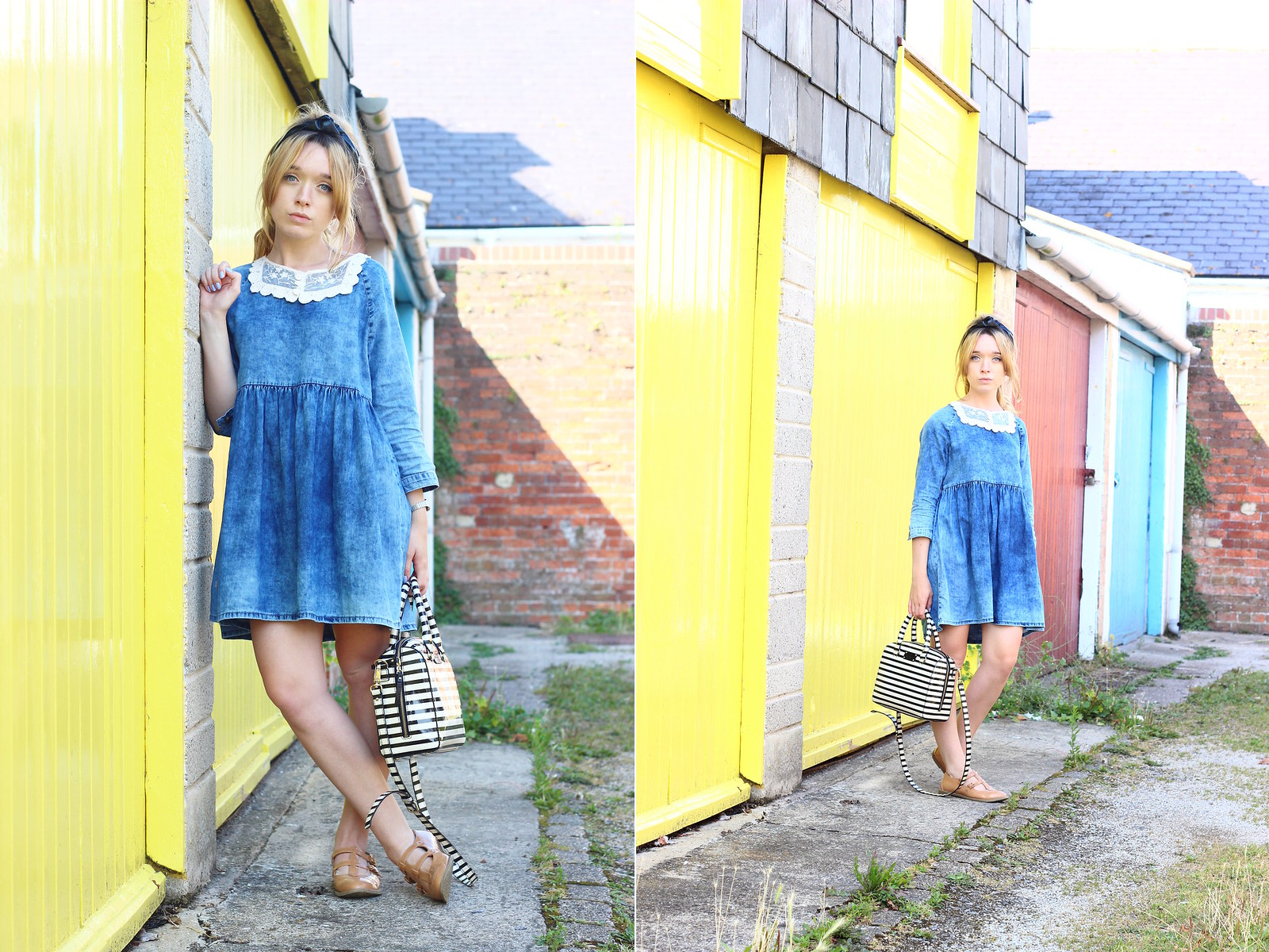 double, smock dress, lace collar , diy, vintage style