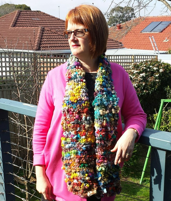Scarf crocheted from Paulines handspun