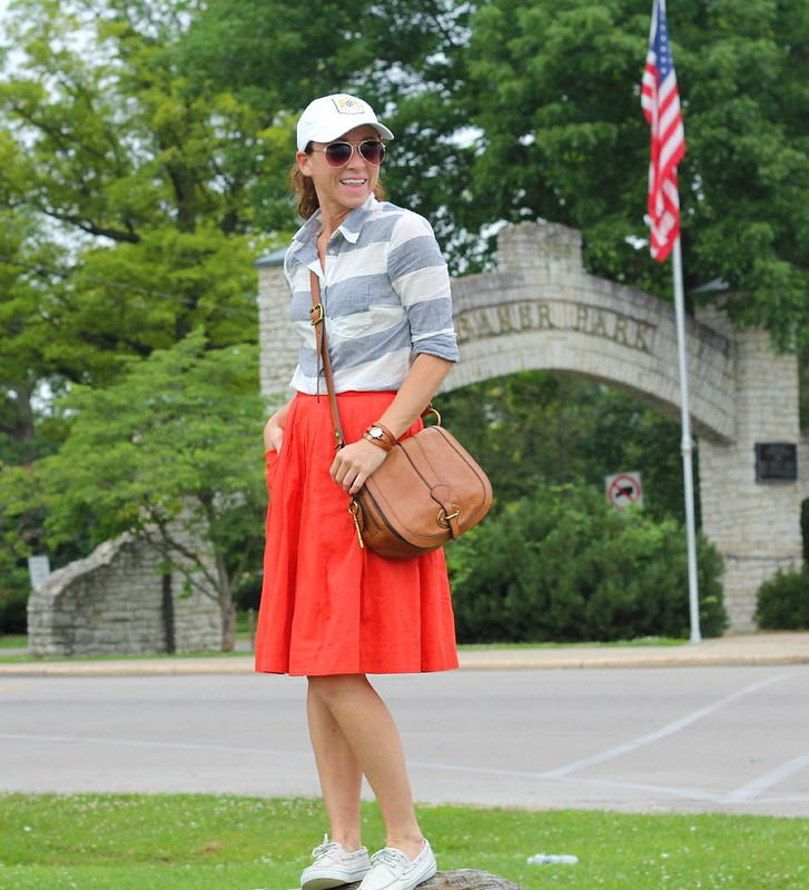 how to style baseball cap with skirts via Kristina J blog