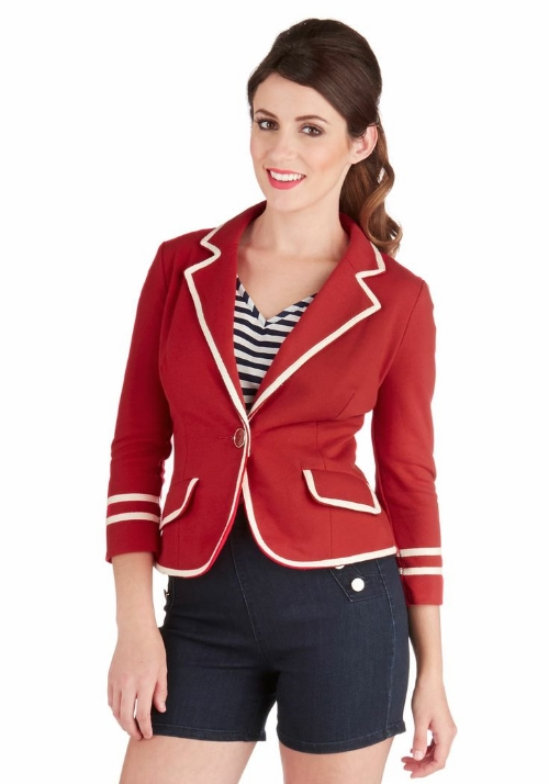 Modcloth Academia Ahoy Blazer in Red