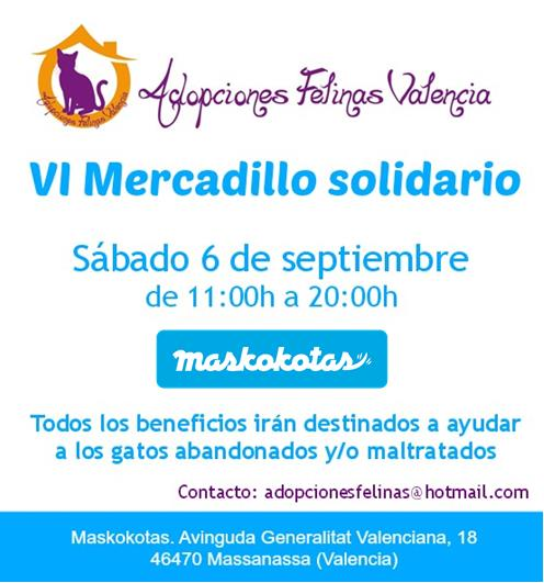 VI MERCADILLO SOLIDARIO ADOPCIONES FELINAS VALENCIA: sábado 6 de septiembre 14884401358_3988cf90ef_o