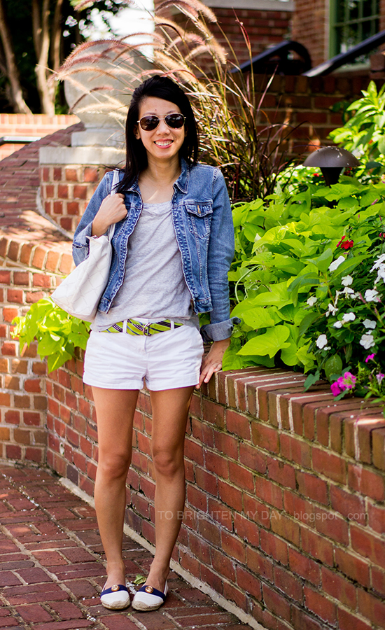 denim jacket, gray tee, blue/green striped belt, espadrilles