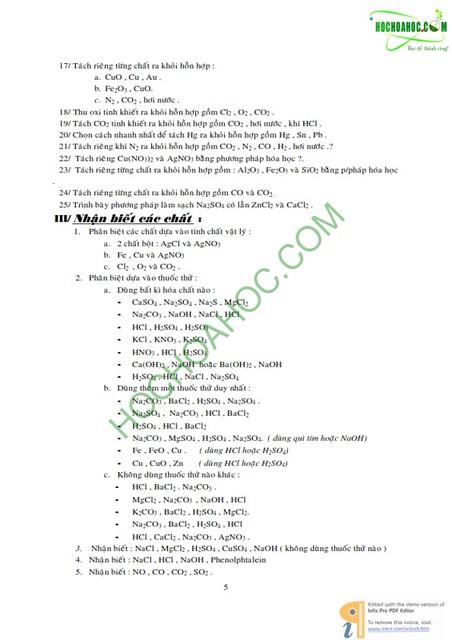Hóa lớp 9 : Các dạng bài tập hóa học (dành cho Học sinh giỏi)