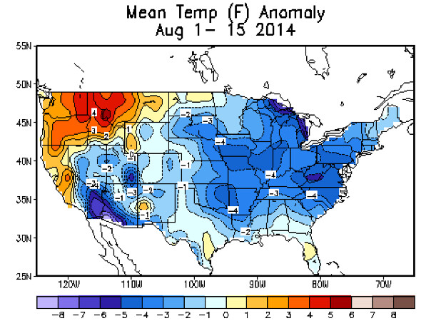 August 2014 temperature anomaly map United States